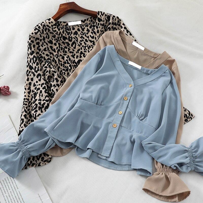 HISUMA Women Spring Summer Flare Sleeve V-neck Leopard Basic Ruffles Shirt Elegant Lady Short Slim Cardigan Button Blouse Tops