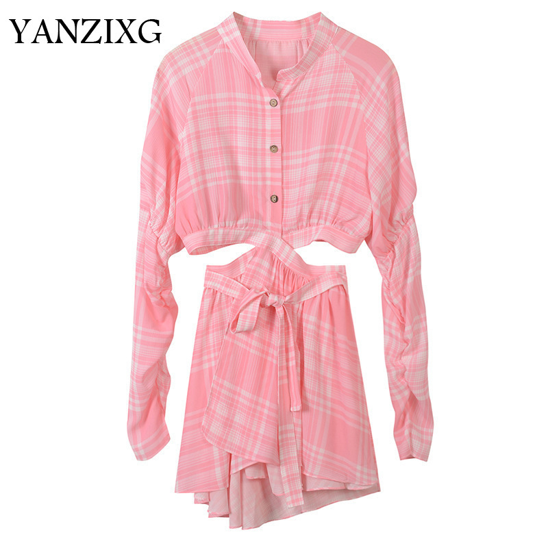 2018 Spring Autumn New Arrival Fashion Pink Plaid Waist Hollow Single breasted Women s Shirt Rompers