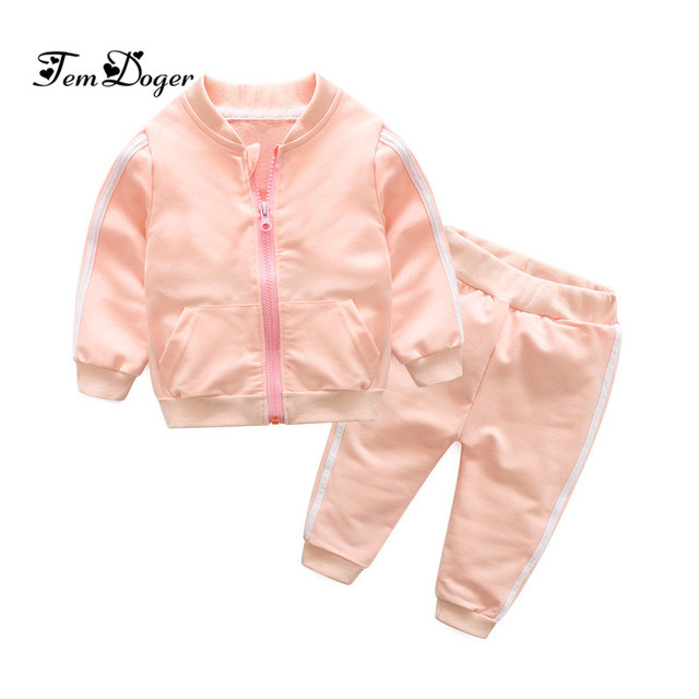 2018 autumn fashion baby girl clothes cotton long sleeve solid zipper jacket+pants 2pcs bebes tracksuit baby boy clothing set 2