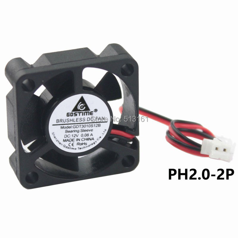 2pcs/lot GDT 12V 2Pin 3010 30*30*10mm 30mm DC Cooler Motor Cooling Heatsink Fan