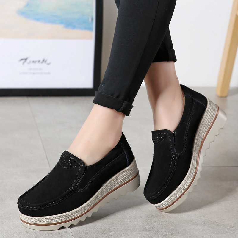 2019 Spring Women Flats Shoes Platform Sneakers Shoes Woman   Leather     Suede   Casual Shoes Slip On Flats Heels Creepers Moccasins 89