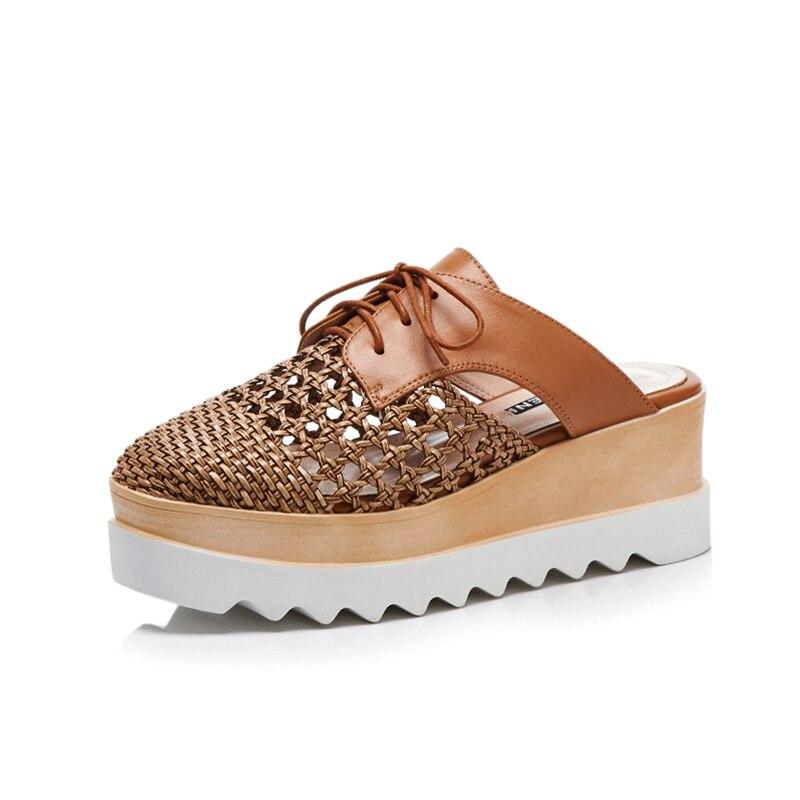 DORATASIA 2019 nowy duży rozmiar 32 42 Hollow krzyż Tied platformy pantofle damskie letnie prawdziwej skóry kobiet kliny buty kobieta w Kapcie od Buty na  Grupa 2