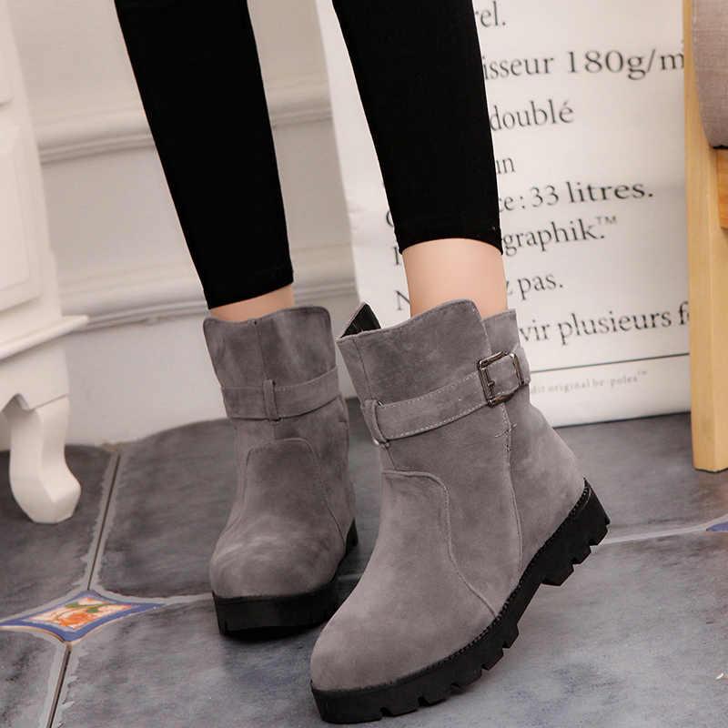 LazySeal nubuk kadın yarım çizmeler toka kış çizmeler ayakkabı patik peluş kadın bayanlar ayakkabı Martin çizmeler kadın büyük boy 44