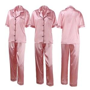 Image 5 - נשים משי פיג מה סאטן פיג מה סטי הלבשת קצר שרוול למעלה + מכנסיים ארוכים בגדי בית Pyjama לילה חליפה