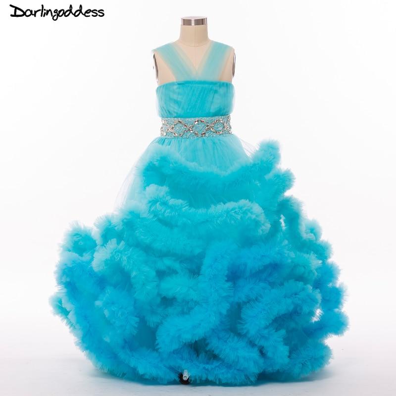 Blue Pageant Dresses For Girls Glitz Ball Gown Cloud Flower Girl Dresses For Weddings 2017 First Holy Communion Dresses Ruffles