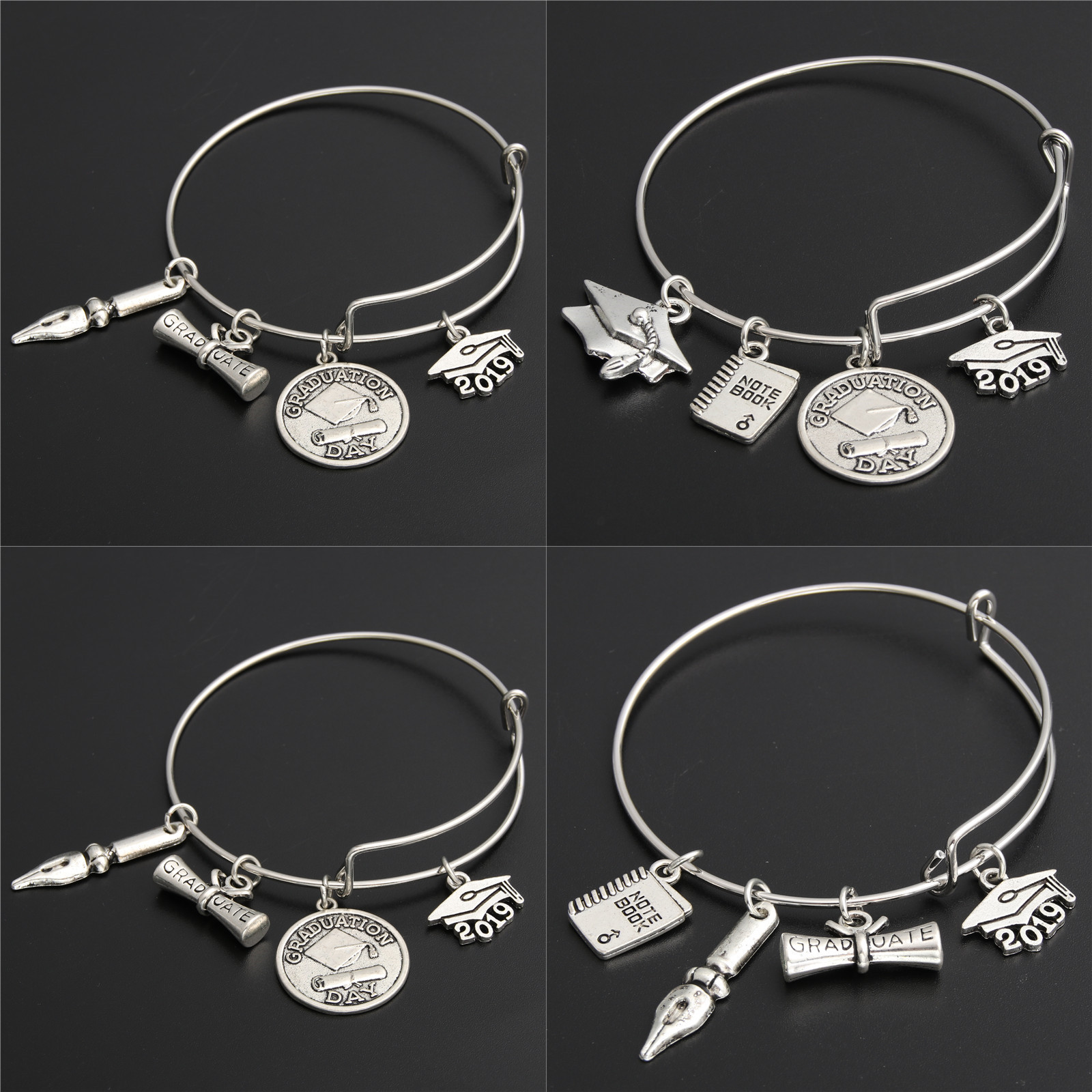 1pc Jewelry 2019 Graduation Bracelet Expandable Wire Bangle Snap Button Bracelets For College Graduation Gifts