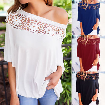 Hot Sexy Womens Off shoulder T-Shirts 2017 Summer Autumn Fashion Short Sleeve Shirt Casual Loose Soft Cotton Tops Lace T Shirt