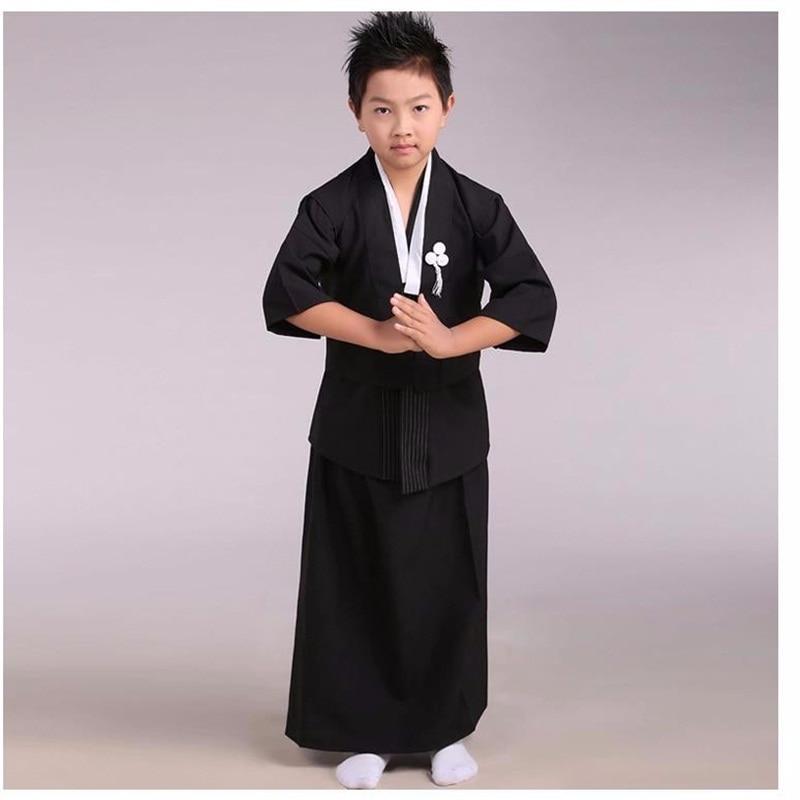 ▻Negro bebé japonés Niños kimono niño Guerrero Cosplay tradicional ...