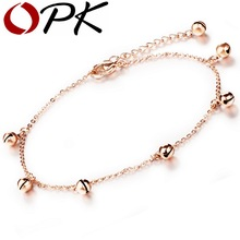OPK Small Bells Pendant Woman Ankle Bracelet Jewelry Vintage Rose Gold Color Stainless Steel Fashion Anklets GZ012