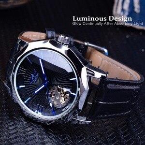 Image 3 - Kazanan mavi okyanus geometri tasarım şeffaf İskelet Dial erkek İzle üst marka lüks otomatik moda mekanik İzle saat