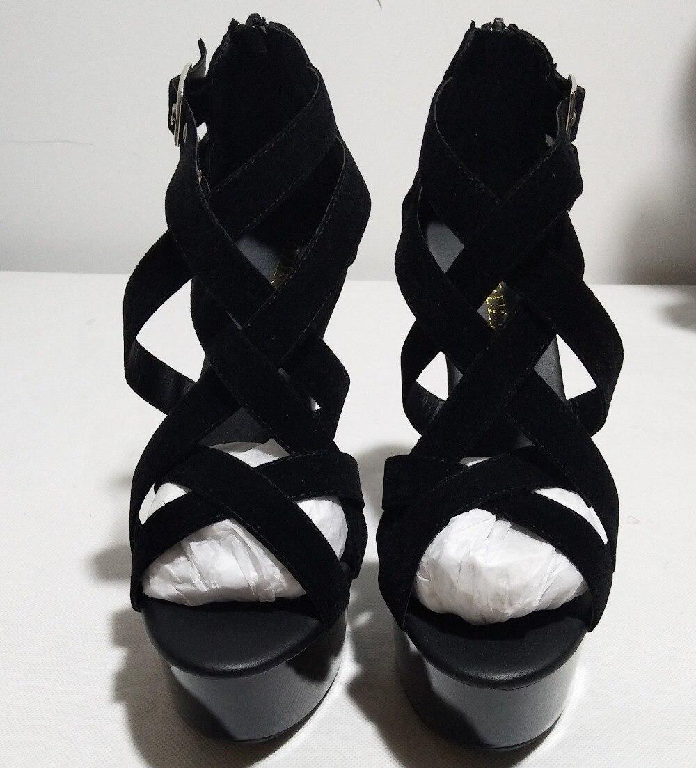 2018 17 Bretelles Noir Talons forme Spartiates Cristal Nouvelle Haute Cheville Plate Sexy Arrivée Chaussures D'été rrq1w