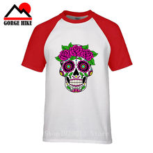 Day of the dead Horror short sleeve tooth floral sugar Rose skull t-shirt Harajuku funny Halloween tee shirts O-neck cool tops(China)