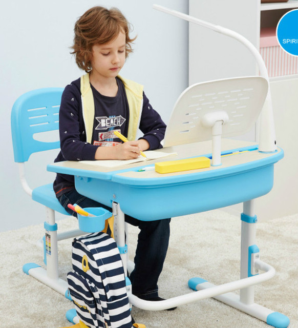 New adjustable height protection vision correcting sitting posture children learning desk and chair set writing desk