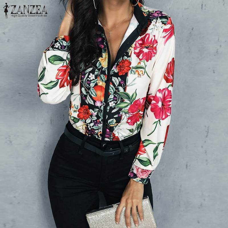 Women Bohemian Floral Printed   Blouse   ZANZEA Summer Vinatge Lapel Neck Long Sleeve Buttons   Shirt   Female Blusas Work Tops Mujer