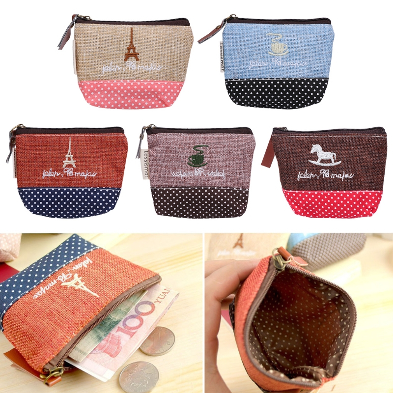 THINKTHENDO Retro Women Lady Small Coin Purse Mini Canvas Purse Zipper Wallet Coin Key Holder Pouch Handbag women lady small funny purse zip wallet coin case bag thinkthendo 4 color handbag key holder pouch