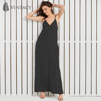 Vintacy Women Chiffon Long Dress Summer Holiday Spaghetti Strap Sexy V Neck Dress Lady Black Polka
