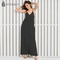 Vintacy Women Chiffon Long Dress Summer Holiday Spaghetti Strap Sexy V Neck Dress Lady Black Polka