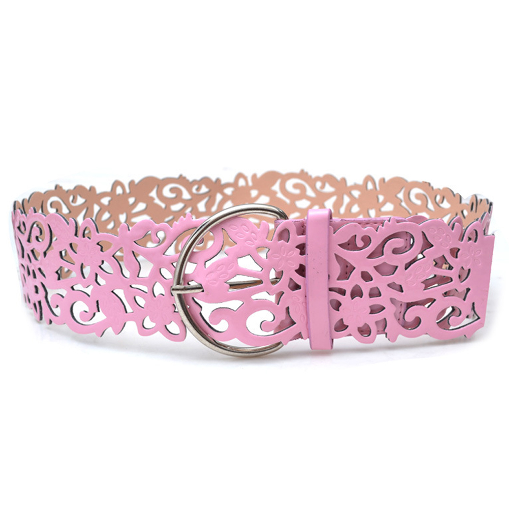 Pink Fashion Vintage Antique Sweet Leather Openwork Flower Shape Waist Belt For Women