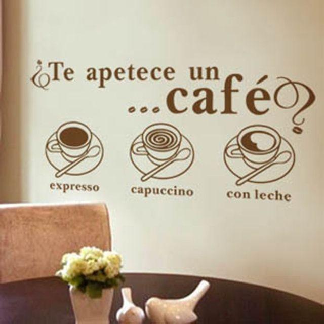 € 4.38 25% de DESCUENTO|Te apetece un café en español vinilo pegatinas de  pared para Comedor Cocina pared ventana decoración sp12 en Adhesivos ...