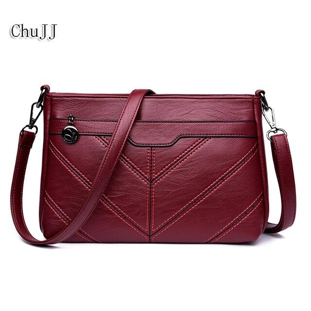 Chu Jj High Quality Women S Genuine Leather Handbags All Match Thread Shoulder Crossbody Bags Messenger