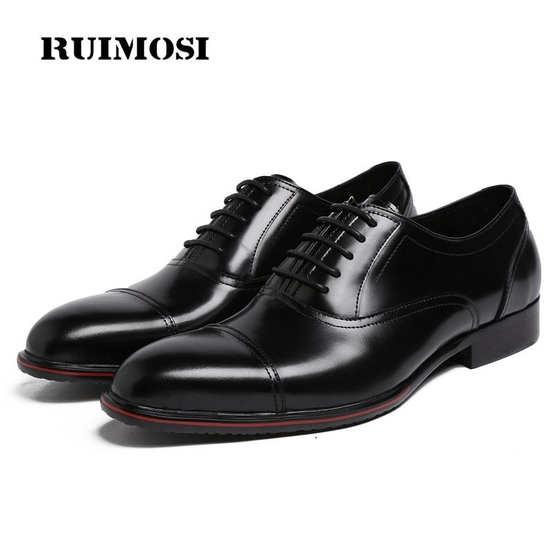 RUIMOSI Top Quality Cap Top Man Formal Dress Shoes Genuine Leather Bridal Oxfords Round Toe Men's Handmade Footwear Flats FK88