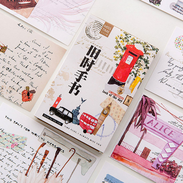 30 pcs lot travel diary postcard vintage paper greeting card