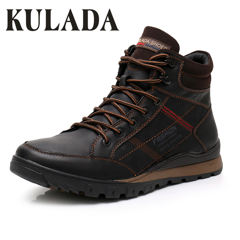 KULADA Boots Men Sneakers Boots Leather Winter Snow Warm Boots Men Lace Up Breathable Footwear Men's Casual Winter Shoes