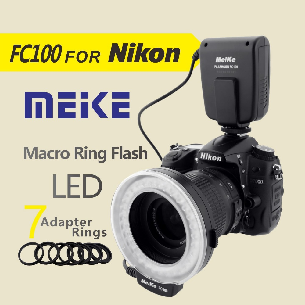 Meike FC100 LED Macro Ring Flash for Nikon D7100 D7000 D5200 D5100 D5000 D3200 D3100 D3000 D800 D600 D300s D200 D90 D80 D60 цена