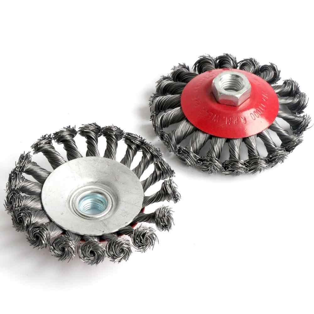 "4Pcs 3/"" 4/"" Twist Knot Wheel Flat Wire Cup Brush Set Angle Grinder M14 Screw"