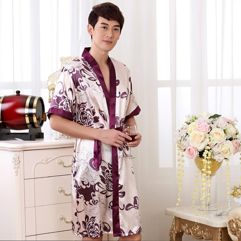 Summer Nightgown Sleepshirts Mens Robe Kimono Bath Gown Faux Silk Sleepwear Casual Silky Nightwear Size M L XL XXL