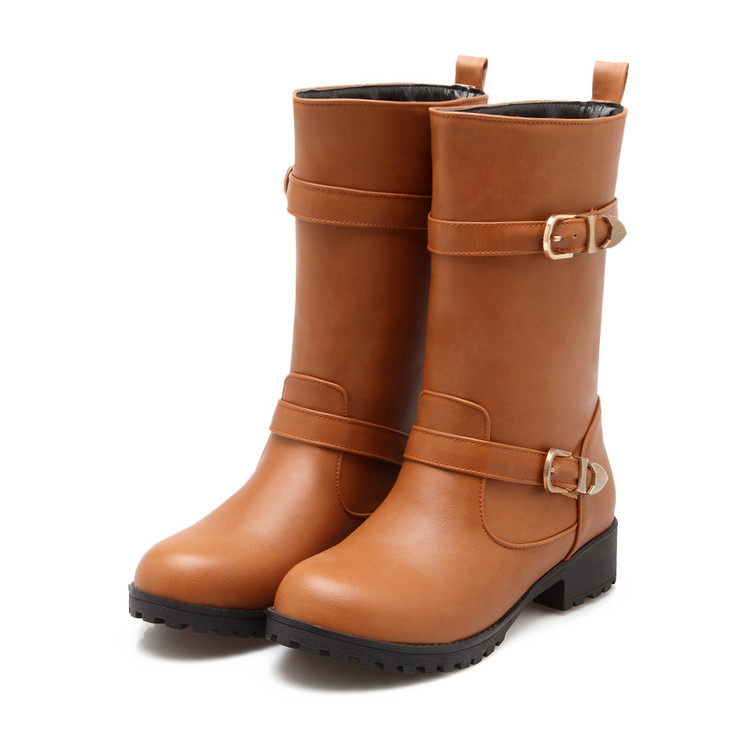 Big size 34-43 New Round  Toe Buckle Boots for Women Sexy Ankle Boots Heels Fashion Winter  Spring  Autumn Shoes Casual  733-2 enmayla ankle boots for women low heels autumn and winter boots shoes woman large size 34 43 round toe motorcycle boots