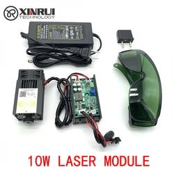450nm 10000 mW 12 V High Power TTL Einstellbarer Fokus Blau Laser Modul DIY Laser stecher zubehör 10 W laser kopf