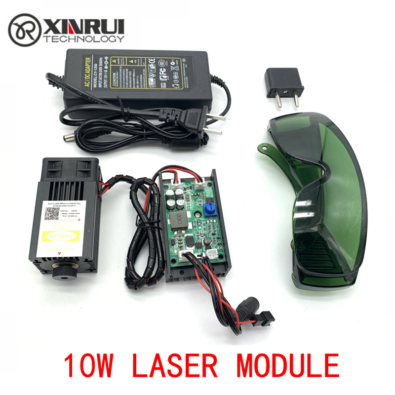 450nm 10000mW 12V High Power TTL Adjustable Focus Blue Laser Module DIY Laser Engraver Accessories 10W Laser Head
