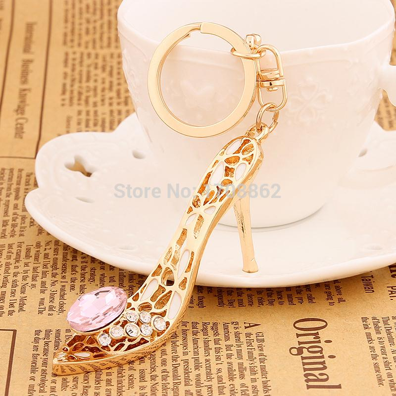 Creative Novelty Rhinestone High-heeled shoes Keychains Keyrings Fashion Charm Crystal K ...