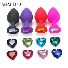 ANAL PLUG Heart Shaped Silicone Anal Plug Prostate Massager Rhinestone Butt Erotic Sex Toys For Men Woman Adult Tube