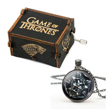 Game of Thrones Pendant Necklace Wood Music Box  Antique Carved  Hand Crank Music Boxs Birthday Gift for Friend DropShipping antique carved wood star wars game of thrones music box hand crank theme music welcome to sell friends cooperation