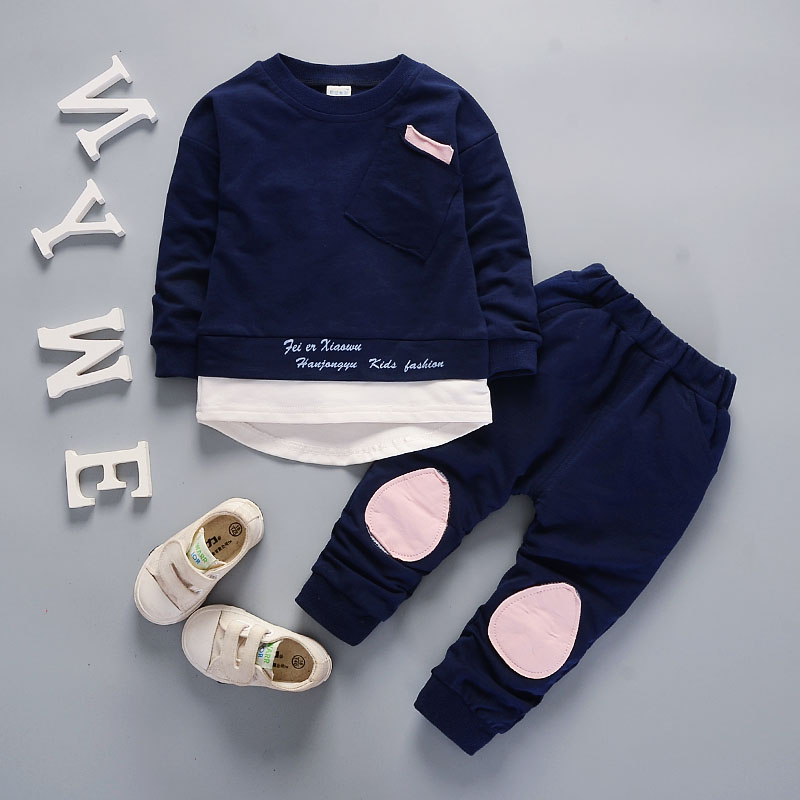 Autumn Children Boys Girls Fashion Clothes Baby Long Sleeve T-shirt Pants 2pcs Suits Kids Clothing Sets Toddler Brand Tracksuits 2016 spring autumn cotton fashion boys clothes 3pcs children clothing sets long sleeve t shirt vest casual pants outfits b235