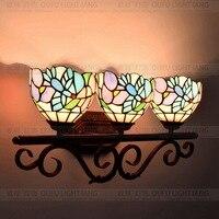 Плоти страна цветы Тиффани Старинные витражи Стекло гладить настенный светильник в помещении прикроватные бра для дома AC 110 В/ 220 В