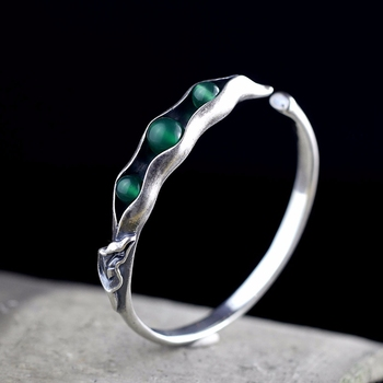 LouLeur 925 sterling silver jade bangles handmade original design beans open jade bangles for women charms fashion jade jewelry