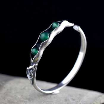 LouLeur 925 sterling silver jade bangles handmade original design beans open jade bangles for women charms fashion jade jewelry - DISCOUNT ITEM  34% OFF All Category
