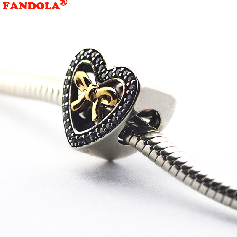 Fits for Pandora Charms Bracelets Bound By Love Beads with 14K Real Gold and Clear CZ 10 ...