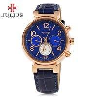JULIUS Women Three Working Sub dials Quartz Watch Calendar Luminous Pointer Leather Strap Watches Fashion Waterproof Wristwatch