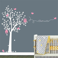 C199 Custom made Brand Owl Tree Wall Sticker Tree Wall Decals Vinyl Wall Art for Nursery Boys and Girls Room Home Decor