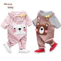 Ins Baby Clothing Set Spring 2018 New Cotton Newborn Stripe T Shirt Cute Cartoon Bear Suspender