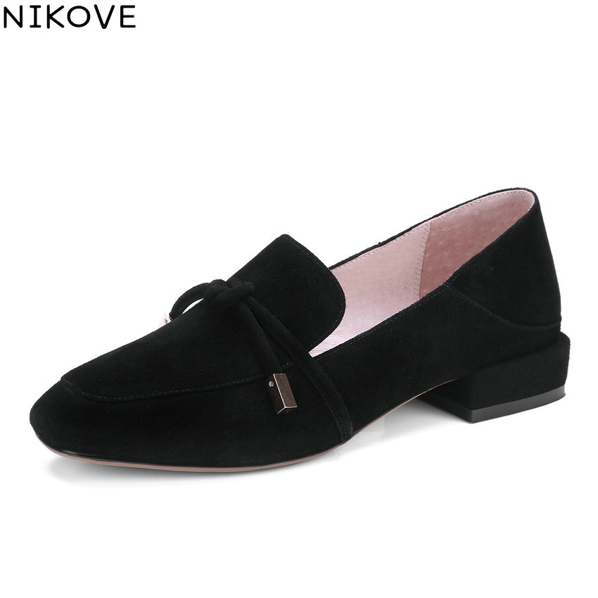 NIKOVE 2018 Women Pumps Sweet Style Shoes Low Heels Square Toe Slip on Kid Suede PU Spring and Autumn Women Shoes Size 34-42 siketu 2017 free shipping spring and autumn women shoes sex high heels shoes wedding shoes sweet lovely pumps g126