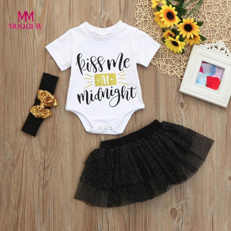 MUQGEW Infant Kids Baby Girls Letter Tops O-Neck Short Sleeve T Shirt Dot Tulle White hot sale Skirt Outfits Headband Sets