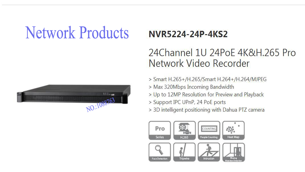 DAHUA 24Channel 1U 24PoE 4K&H.265 Pro Network Video Recorder Without Logo NVR5224-24P-4KS2