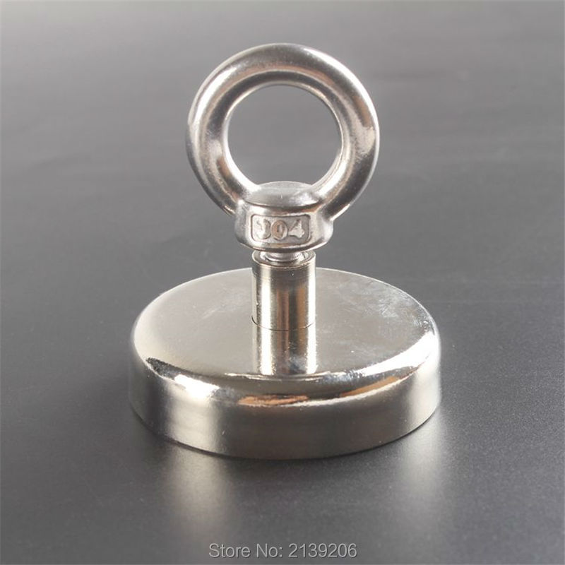 1pcs 110kg Pulling Mounting D60mm strong powerful fishing neodymium Magnet Pot with ring , deap sea salvage equipments
