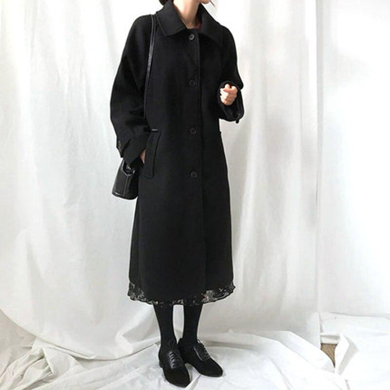 À Manteau 2019 Moyen Long Femmes Laine Et De Mode Noir Mince La kaki Tissu nTZ0wwUq1