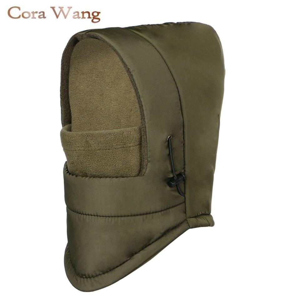 Cora Wang Fleece Hooded Waterproof Women Winter Sports Face Mask Men Motorcycle Beanies Masked Cap Bonnet Femme Balaclava Hat